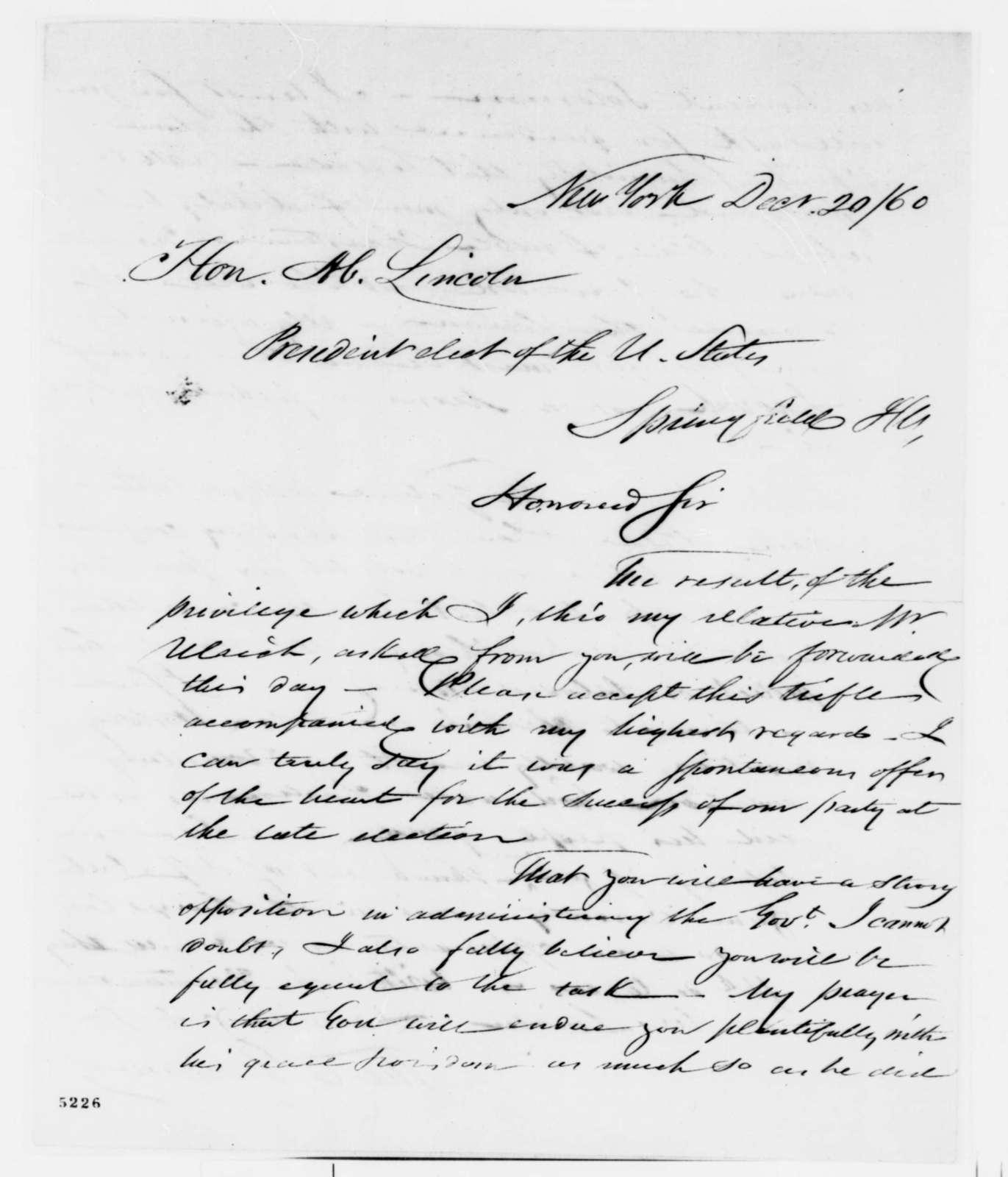 Thomas C. Doremus to Abraham Lincoln, Thursday, December 20, 1860  (Sends gifts)