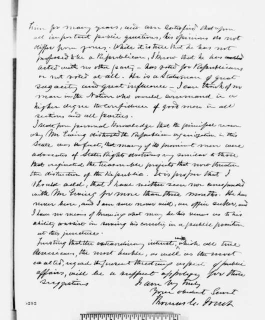 Thomas C. Jones to Abraham Lincoln, Monday, December 24, 1860  (No compromise with traitors)