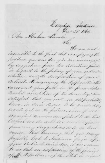 Thomas C. Slaughter and W.Q. Gresham to Abraham Lincoln, Monday, December 31, 1860  (Recommendation for Caleb Smith)