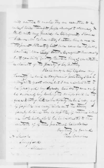 Thomas Corwin to Abraham Lincoln, Monday, December 10, 1860  (Congressman Gilmer's request that Lincoln issue a statement)