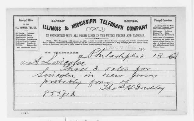 Thomas H. Dudley to Abraham Lincoln, Tuesday, November 13, 1860  (Telegram reporting election results)