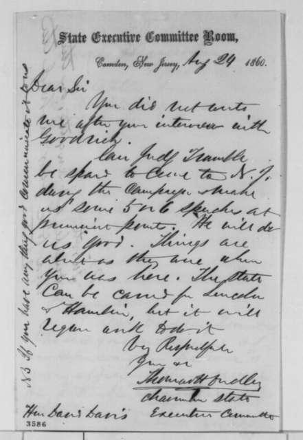 Thomas H. Dudley to David Davis, Friday, August 24, 1860  (Politics)