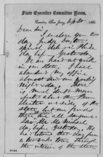 Thomas H. Dudley to David Davis, Thursday, September 20, 1860  (Political affairs)