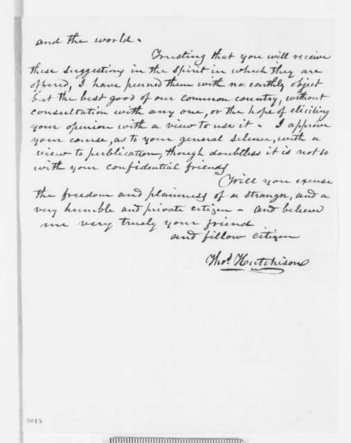 Thomas Hutchison to Abraham Lincoln, Wednesday, December 12, 1860  (Advises Lincoln to have Southern advisers, especially John Bell)