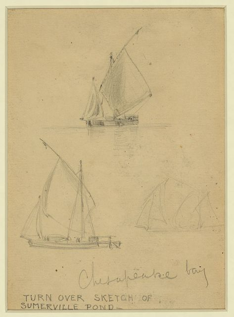 [Three sailboats on Chesapeake Bay]