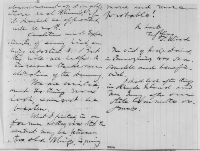 Thurlow Weed to Abraham Lincoln, Saturday, August 25, 1860  (New York politics)