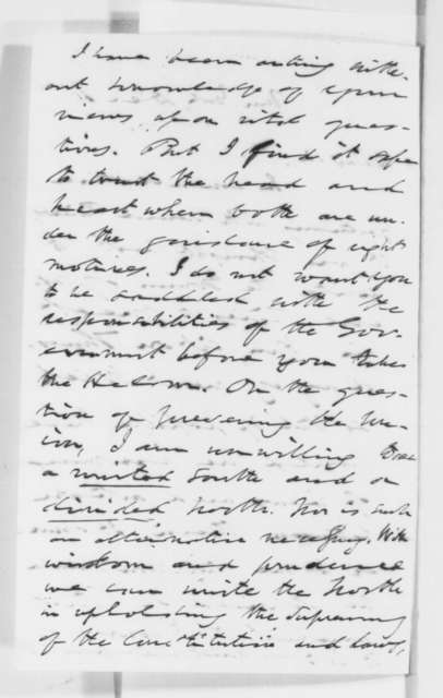 Thurlow Weed to Abraham Lincoln, Tuesday, December 11, 1860  (Political issues and Lincoln's policy)