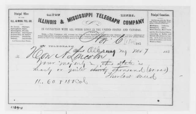 Thurlow Weed to Abraham Lincoln, Tuesday, November 06, 1860  (Telegram reporting election results)