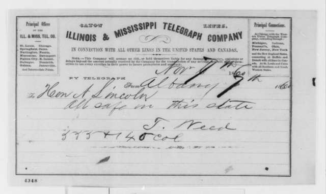 Thurlow Weed to Abraham Lincoln, Wednesday, November 07, 1860  (Telegram reporting election results)