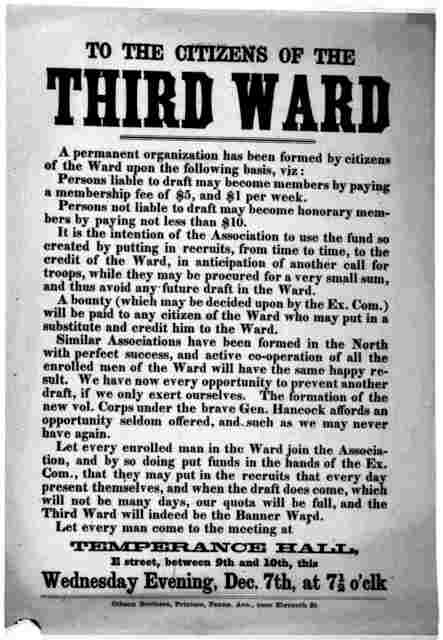 To the citizens of the third ward. A permanent organization has been formed by citizens of the ward upon the following basis ... Let every man come to the meeting at Temperance Hall. Wednesday evening Dec. 7th, at 7.5 o'clk. Gibson Brothers, Pri