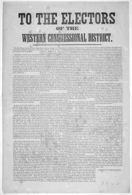 To the electors of the Western congressional district. The Hon. Wilkins Updike, of South Kingstown, is now a candidate to represent you in the next Congress of the United States ... A citizen of Narragansett. [186-].