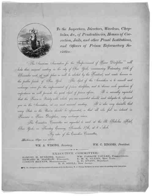 To the inspectors, directors, wardens, chaplains, &c. of penitentiaries, houses of correction, jails, and other penal institutions, and officers of prison reformatory societies ... Baltimore, Sept. 1st, 1860.