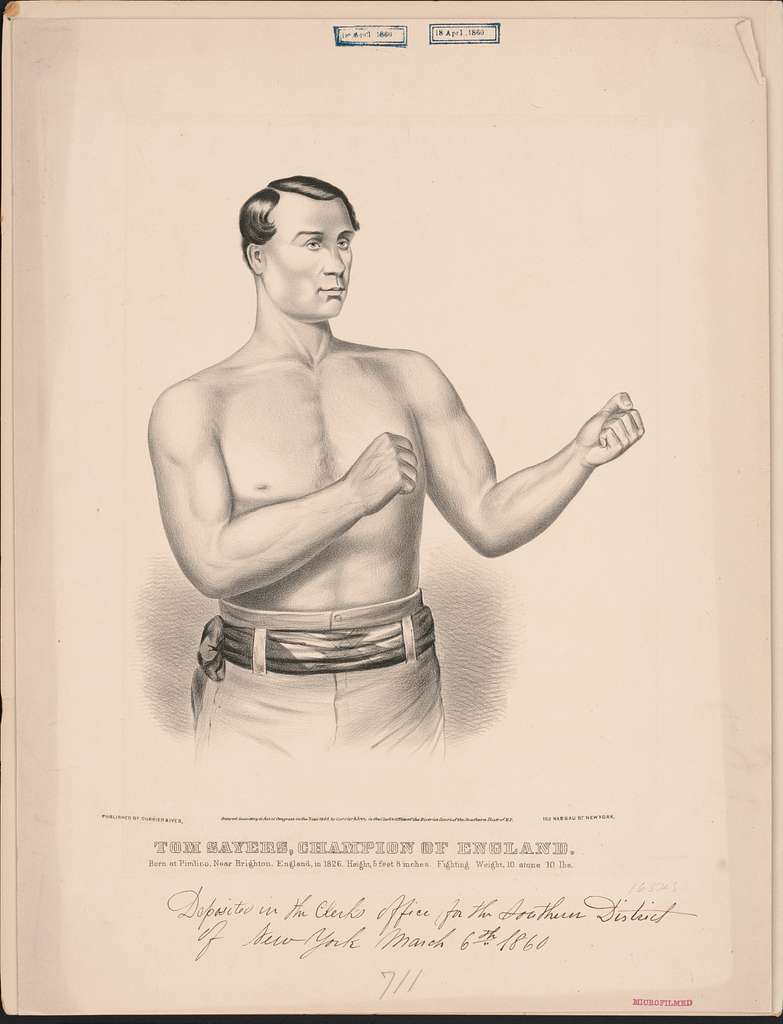 Tom Sayers, champion of England: born at Pimlico, near Brighton, England, in 1826, height 5 feet 8 inches, fighting weight, 10 stone 10 lbs