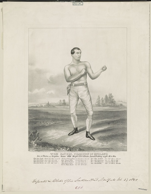 Tom Sayers, champion of England born at Pimlico near Brighton, Sussex 1826, height 5 ft. 8 inches, lowest feichting weight 10 st. 10 lbs / / lith. by Cameron & Walsh, 32 & 34 John St., N.Y.