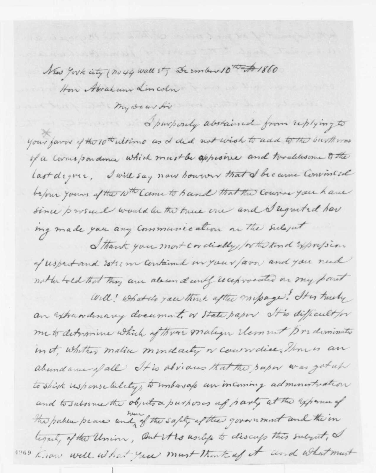 Truman Smith to Abraham Lincoln, Monday, December 10, 1860  (Buchanan's Annual Message)