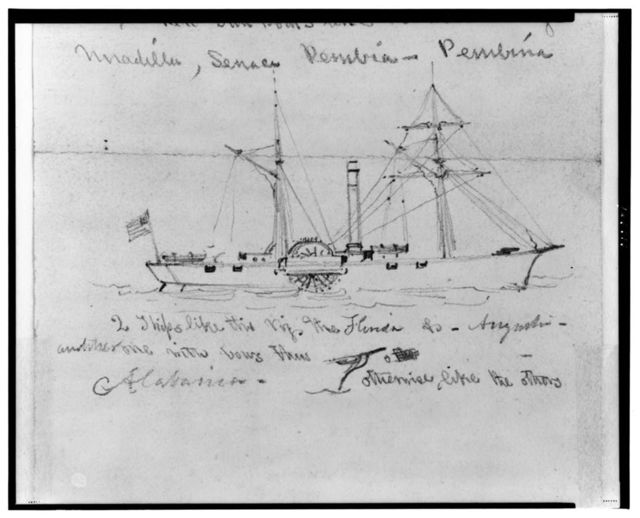 [Two broadside views of steamships]