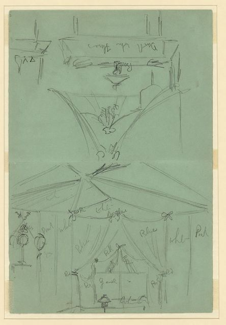 [Two sketches of tent interior]