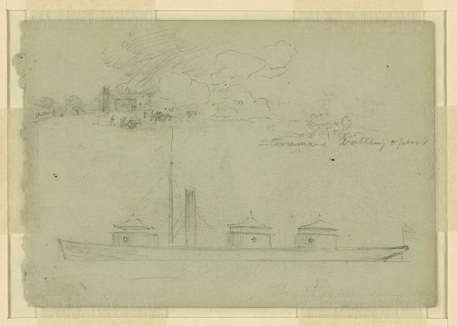 [Two sketches: Stonemans battery opens. The gunboat porter?]