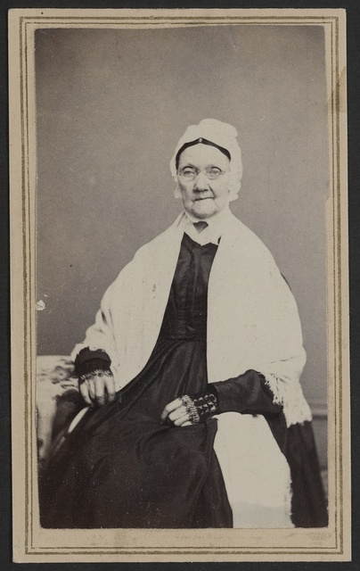 [Unidentified elderly woman in shawl, mitts, and cap] / Townsend & Broas (Successors to Cannon & Rymph,) 365 Main Street, Poughkeepsie, N.Y.