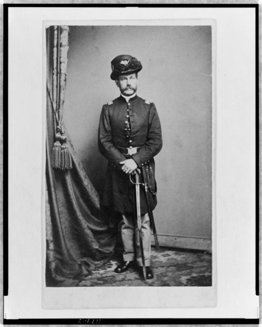 [Unidentified Union officer, full-length portrait, standing, with both hands of sword, facing front]