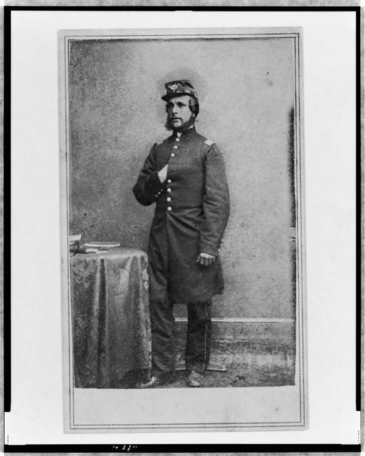 [Unidentified Union officer, full-length portrait, wearing military uniform, standing, with right hand in coat, facing left]