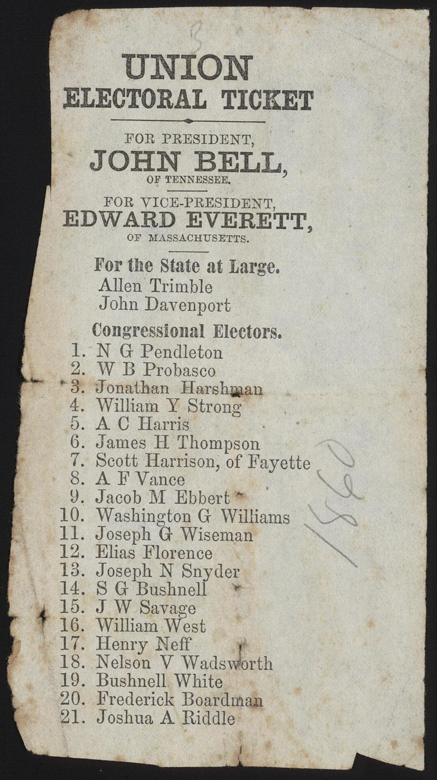 Union electoral ticket. For President, John Bell, of Tennessee. For Vice-President, Edward Everett, of Massachusetts. [Ohio campaign ticket]