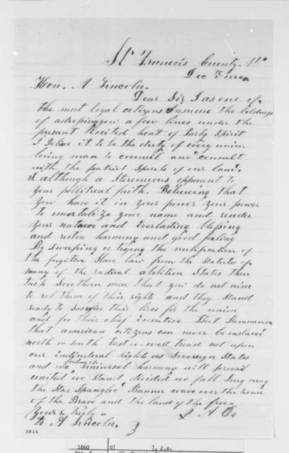 """Unknown. """"J.A.C."""" to Abraham Lincoln, Wednesday, December 05, 1860  (Urges Lincoln to control the """"radical abolition"""" states and reassure Southerners that their rights will be preserved)"""