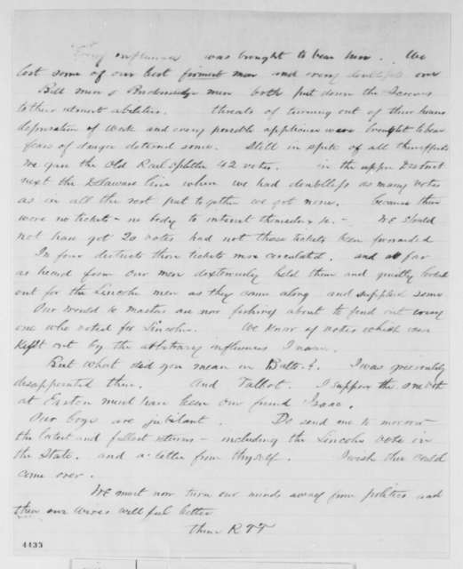 "Unknown.  ""R.R.T."" to John T. Graham, Saturday, November 10, 1860  (Election results)"