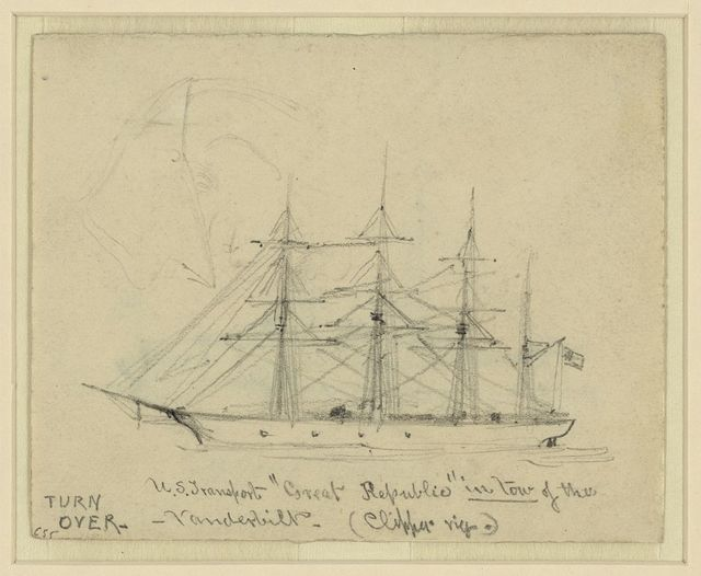 "U.S. Transport ""Great Republic"" in tow of the Vanderbilt (Clipper rig)"