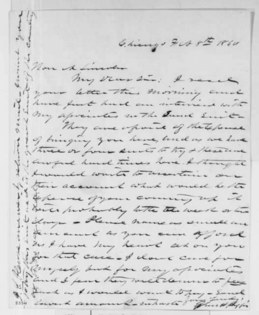 Van H. Higgins to Abraham Lincoln, Wednesday, February 08, 1860