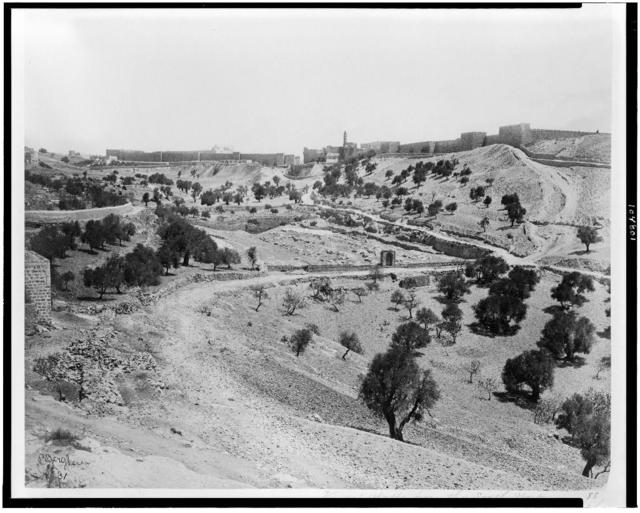[View of Jerusalem walls from the southwest. Valley of Hinnora and lower pool of Gihon] / P. Bergheim.