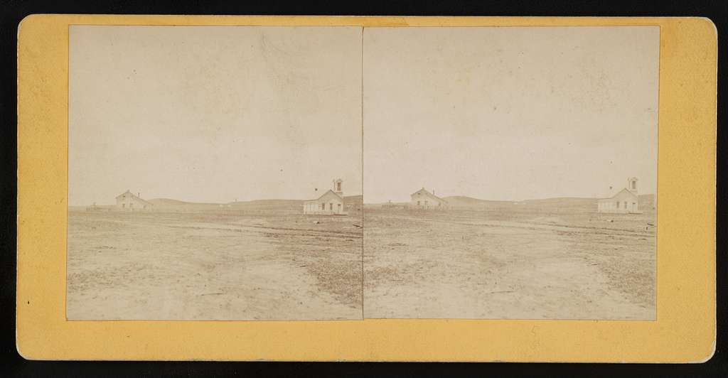 View of the Mission House & Church of the Presbyterian Mission at the Yankton Agency Dakota
