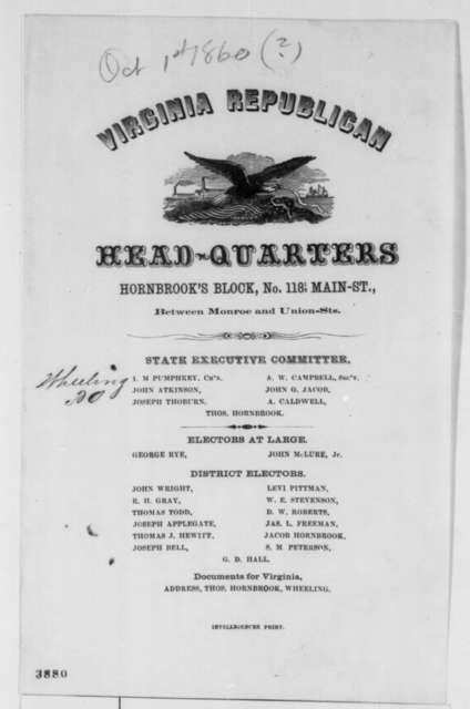 Virginia Republican Party, Monday, October 01, 1860  (Printed Circular Letter)