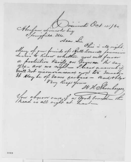 W. H. Shoenberger to Abraham Lincoln, Friday, October 12, 1860  (Ohio results and Lincoln's tariff policy)