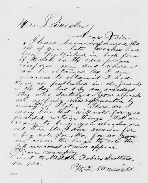 W. L. Munsell to Abraham Lincoln,  1860  (Wants to obtain published edition of Lincoln's speeches)