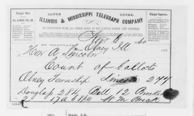 W. M. Breck to Abraham Lincoln, Tuesday, November 06, 1860  (Telegram reporting election results)