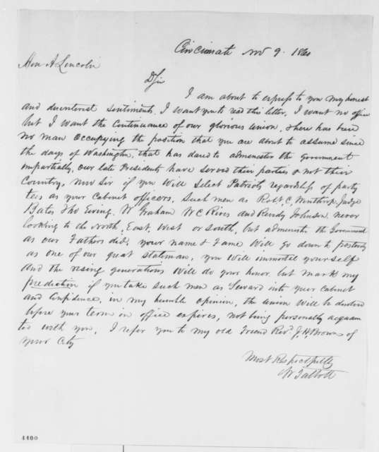 W. Talbott to Abraham Lincoln, Friday, November 09, 1860  (Advises against appointing Seward to cabinet)