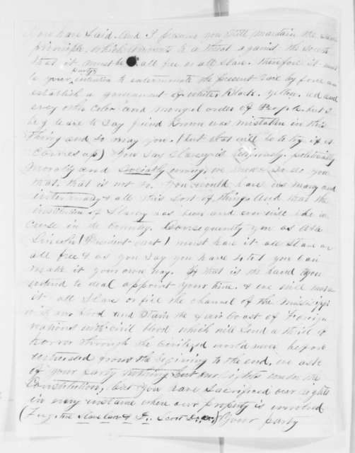 W. V. Barnett to Abraham Lincoln, Friday, November 30, 1860  (Writer from Arkansas advises Lincoln on the slavery issue)