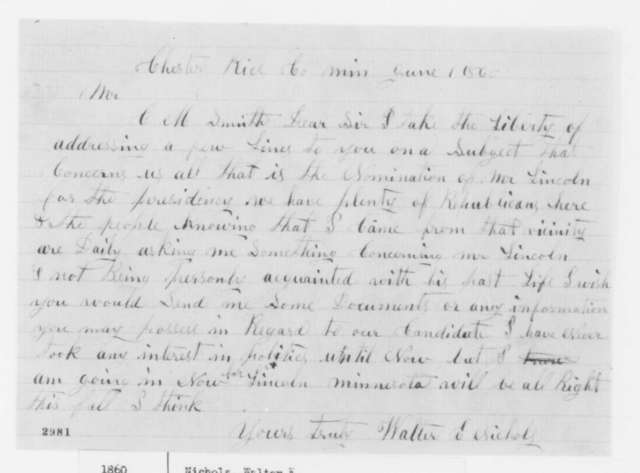 Walter E. Nichols to Clark M. Smith, Friday, June 01, 1860  (Wants information on Lincoln's life)