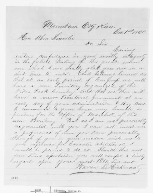 Warren D. Hickman to Abraham Lincoln, Saturday, December 01, 1860  (Wants to be Marshal of Pike's Peak Country)