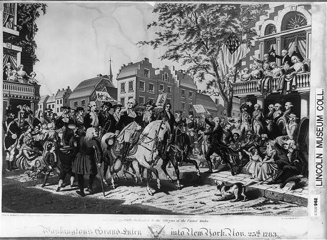 Washington's grand entry into New York. Nov. 25th, 1783 / from an original drawing by Alphonse Bigot; Chromo Lith by T. Sinclair, Phila.