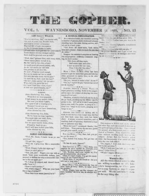 Waynesboro Georgia Gopher, Thursday, November 15, 1860  (Newspaper Issue)