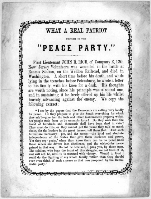"""What a real patriot thought of the """"Peace party"""" ... [n. p.] T. Sinex, printer, [186-]."""