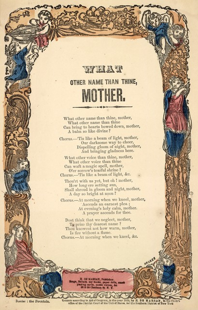 What other name than thine, mother. H. De Marsan, Publisher, 38 & 60 Chatham Street, N. Y