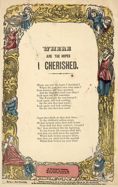 Where are the hopes I cherished. H. De Marsan, Publisher, 38 & 60 Chatham Street, N. Y