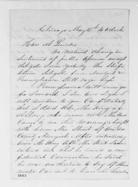 William Butler to Abraham Lincoln, Tuesday, May 15, 1860  (Chicago convention)