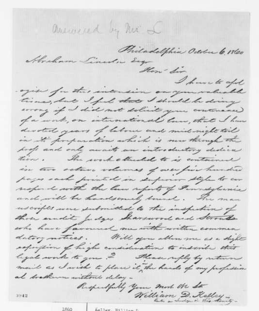 William D. Kelley to Abraham Lincoln, Saturday, October 06, 1860  (Seeks permission to inscribe law volumes to Lincoln)