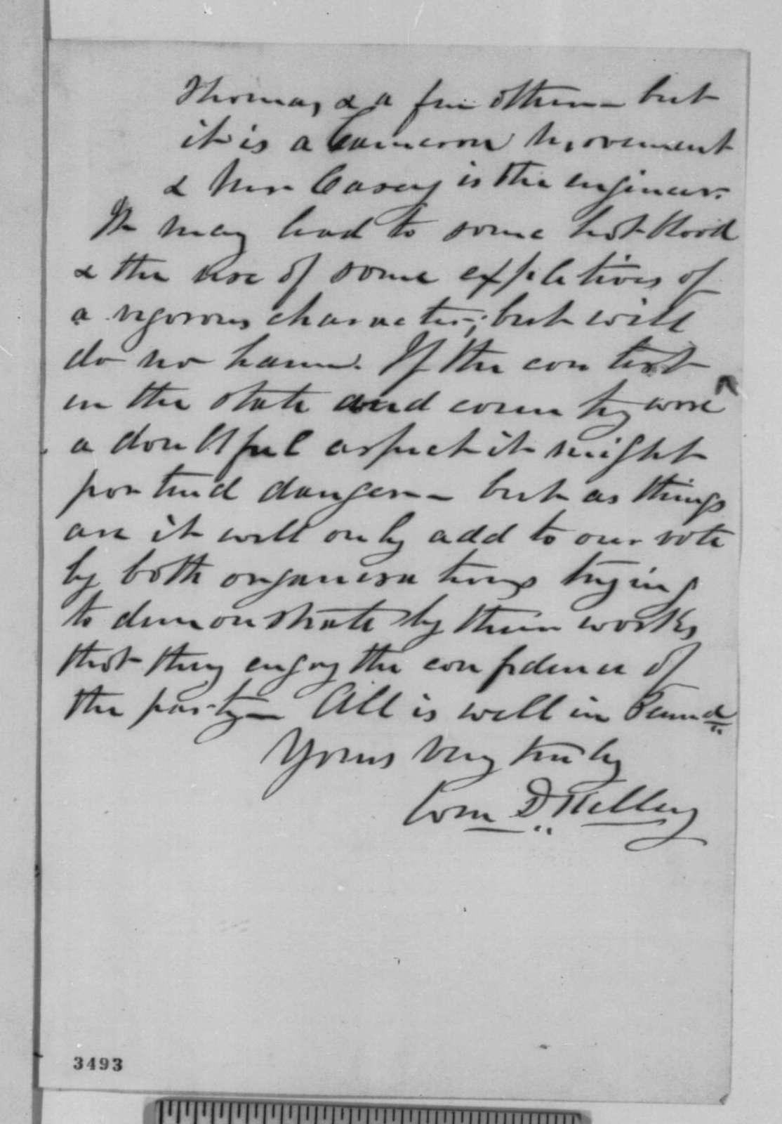 William D. Kelley to Norman B. Judd, Wednesday, August 08, 1860  (Politics in Pennsylvania)