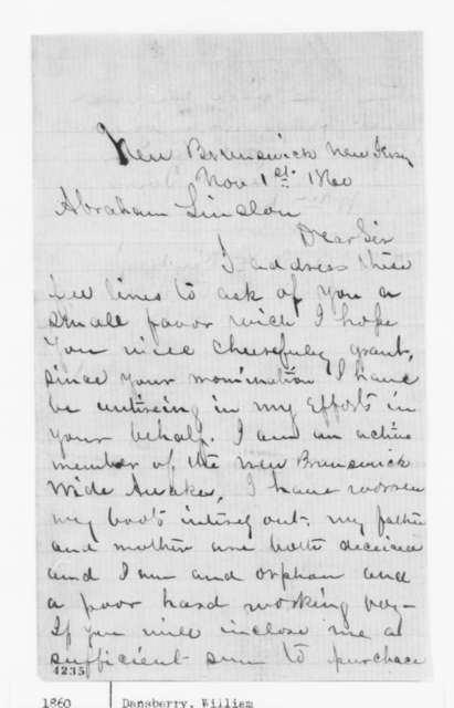 William Dansberry to Abraham Lincoln, Thursday, November 01, 1860  (Wide Awake needs new boots)