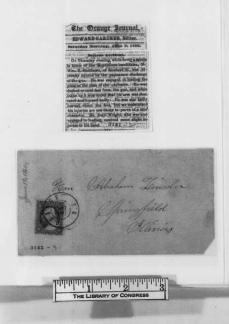 William E. Matthews to Abraham Lincoln, Tuesday, June 19, 1860  (Wants money)